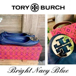 Bright Navy Blue & Gold Torey Burch Ballet Flats